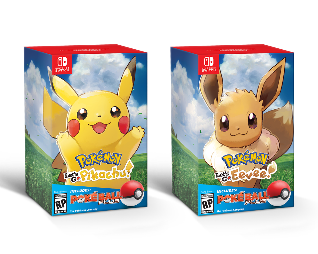 Pokémon Let's Go, Pikachu! and Pokémon Let's Go, Eevee! Poké Ball Plus bundles for Nintendo Switch.